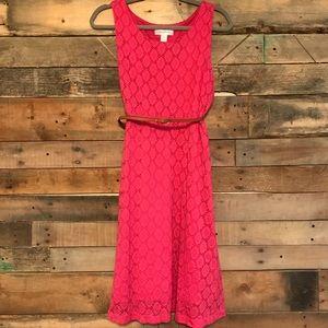 Motherhood Maternity coral eyelet belted dress